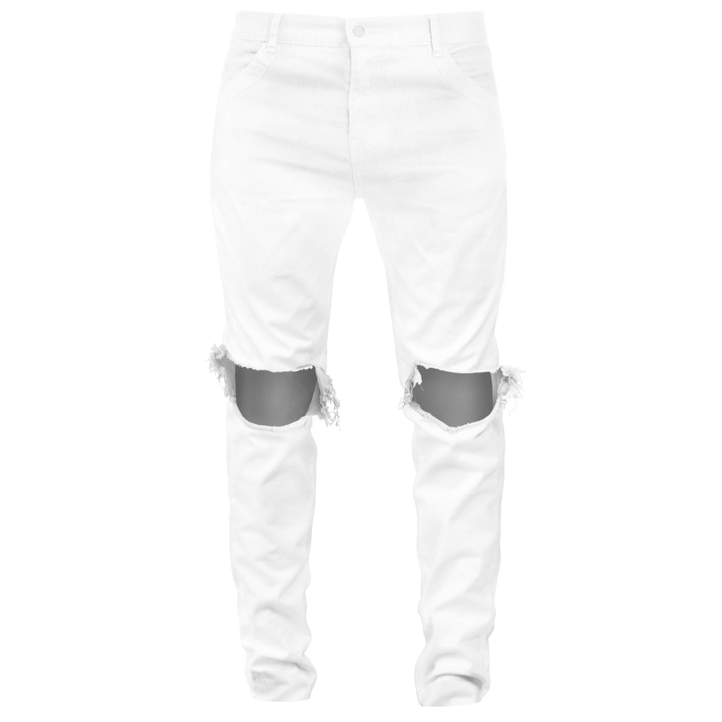 Knee Hole Jeans : White
