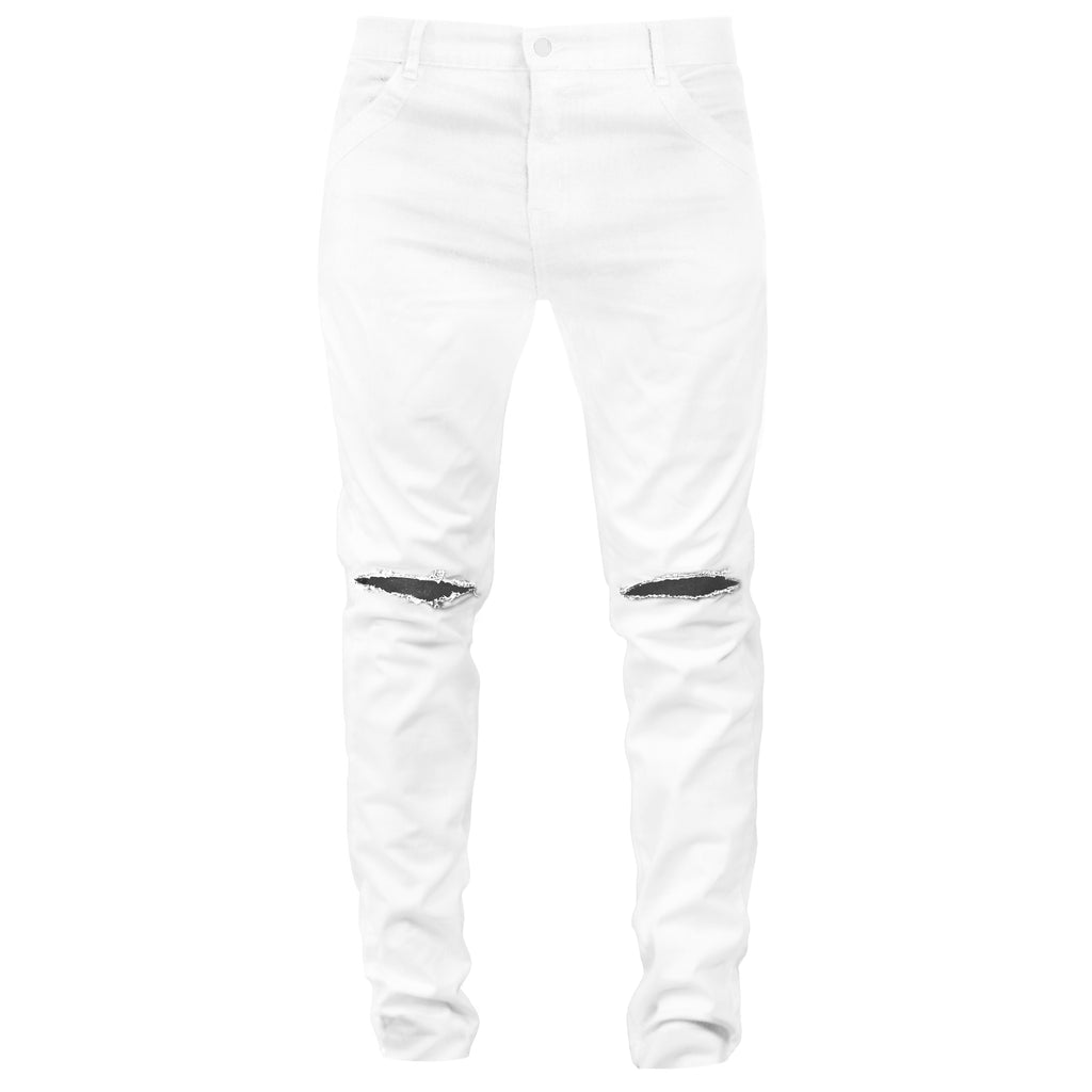 Knee Slit Jeans : White