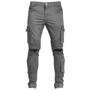 Double-Cargo Biker Knee Slit Jeans : Grey