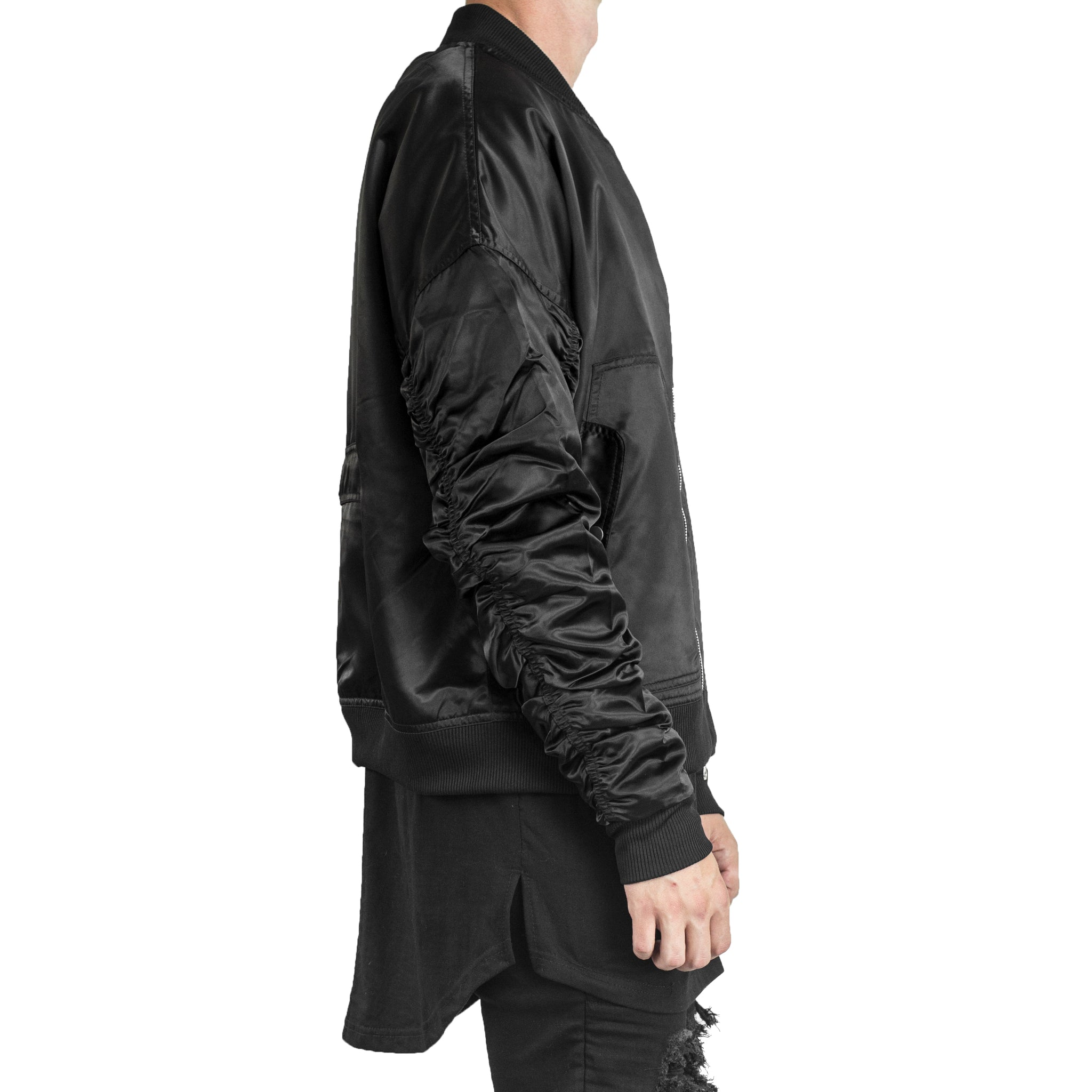 IA-1 Bomber Jacket : Black Satin