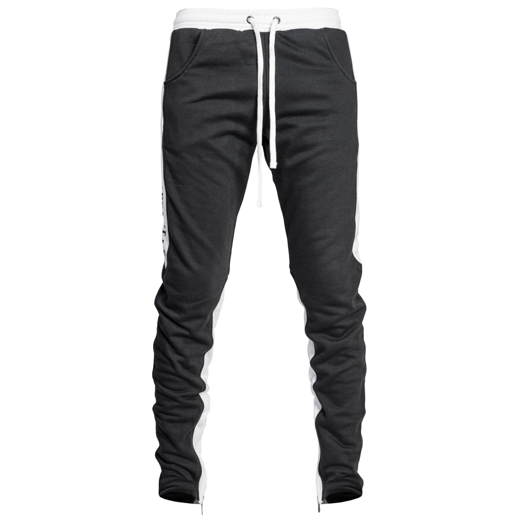 YNM Ankle Zip Trackpants : Charcoal/White