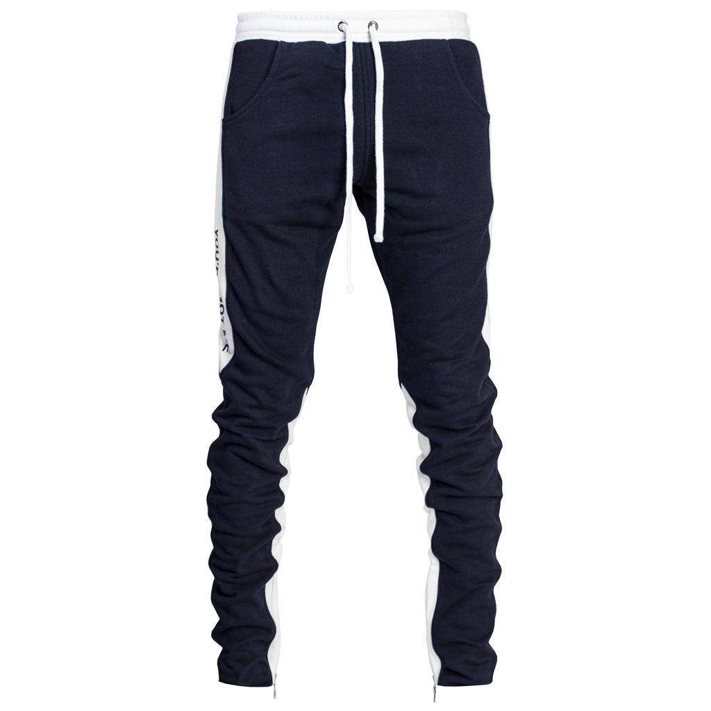 YNM Ankle Zip Trackpants : Navy/White