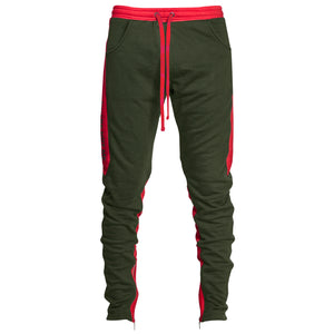 YNM Ankle Zip Trackpants : Olive/Red