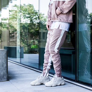 YNM Ankle Zip Trackpants : Pink/White