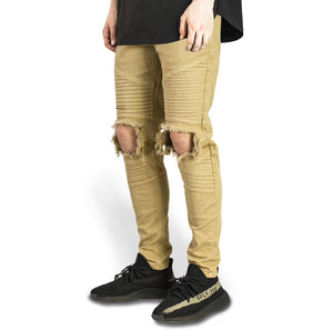 Knee Hole Biker Jeans : Wheat
