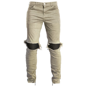 Knee Hole Pants : Khaki