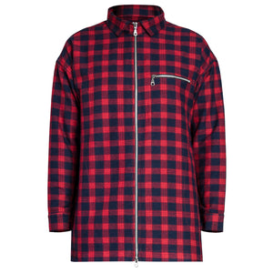 Zipup Longsleeve : Red/Navy Flannel