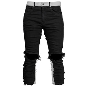 Cropped Spear Jeans : Black/Light Grey