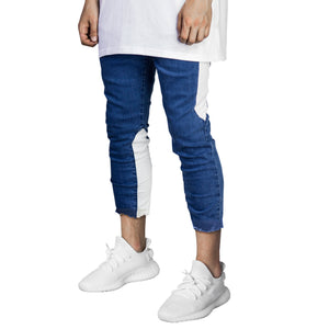 Cropped Spear Jeans : Blue/White