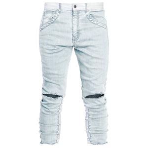 Cropped Spear Jeans : Bleached Blue/White