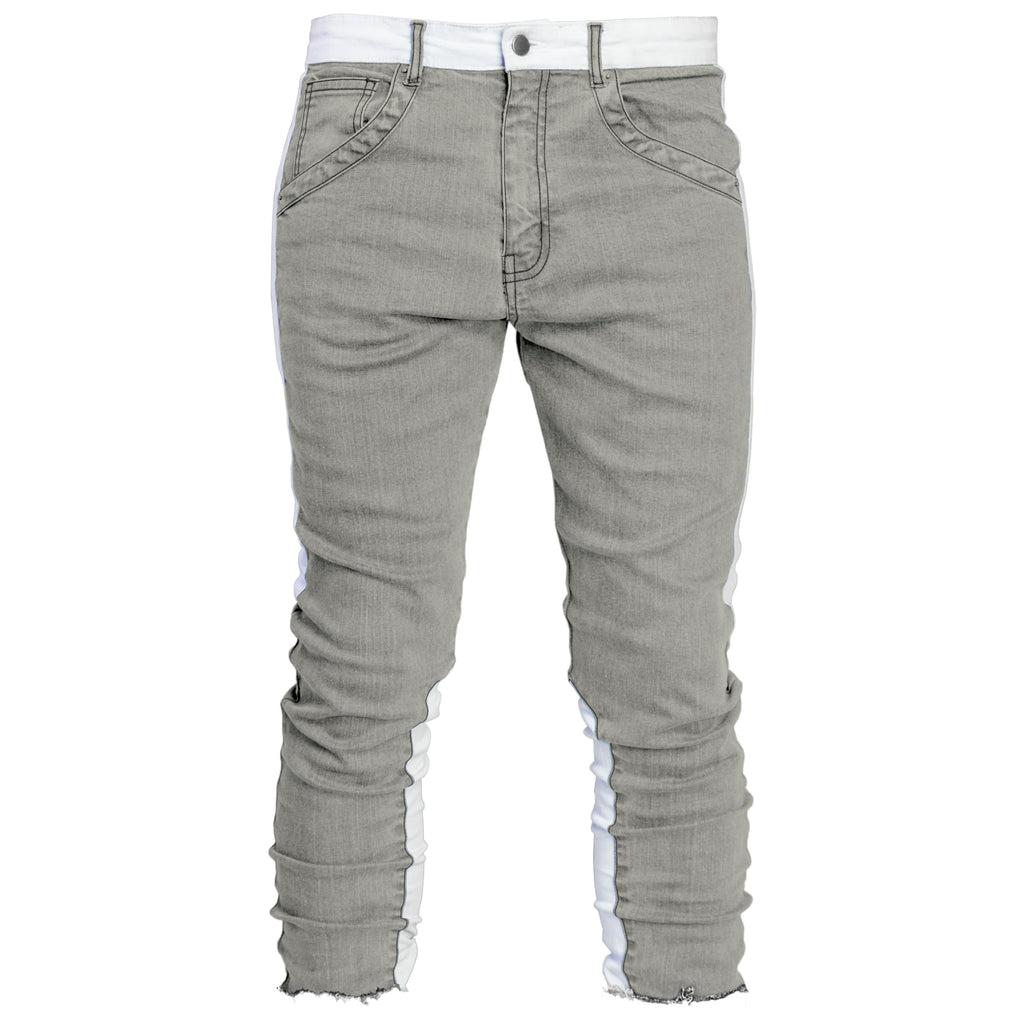 Cropped Spear Jeans : Grey/White