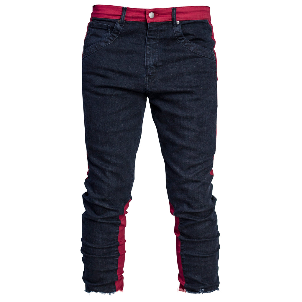 Cropped Spear Jeans : Indigo/Crimson