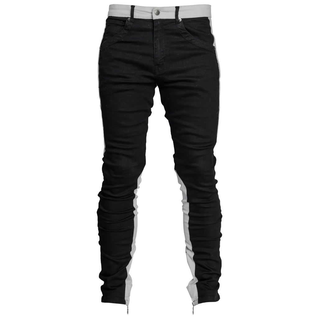 Spear Ankle Zip Jeans : Black/Light Grey