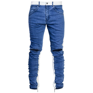 Spear Knee Slit Jeans : Blue/White