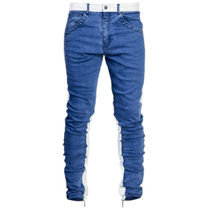Spear Ankle Zip Jeans : Blue/White