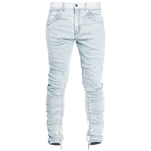 Spear Ankle Zip Jeans : Bleached Blue/White
