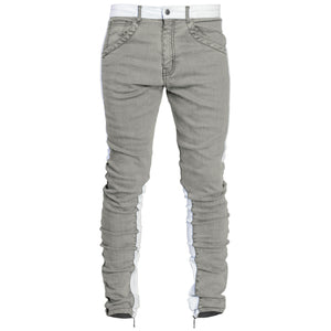 Spear Ankle Zip Jeans : Grey/White