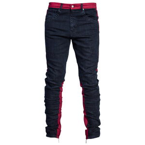Spear Ankle Zip Jeans : Indigo/Red