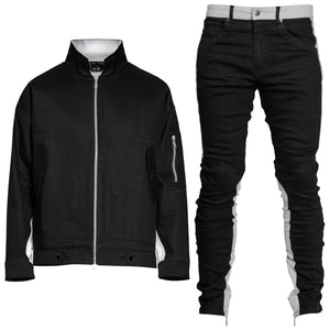Paneled Denim Fit : Black