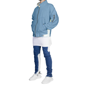 Paneled Denim Fit : Blue/White
