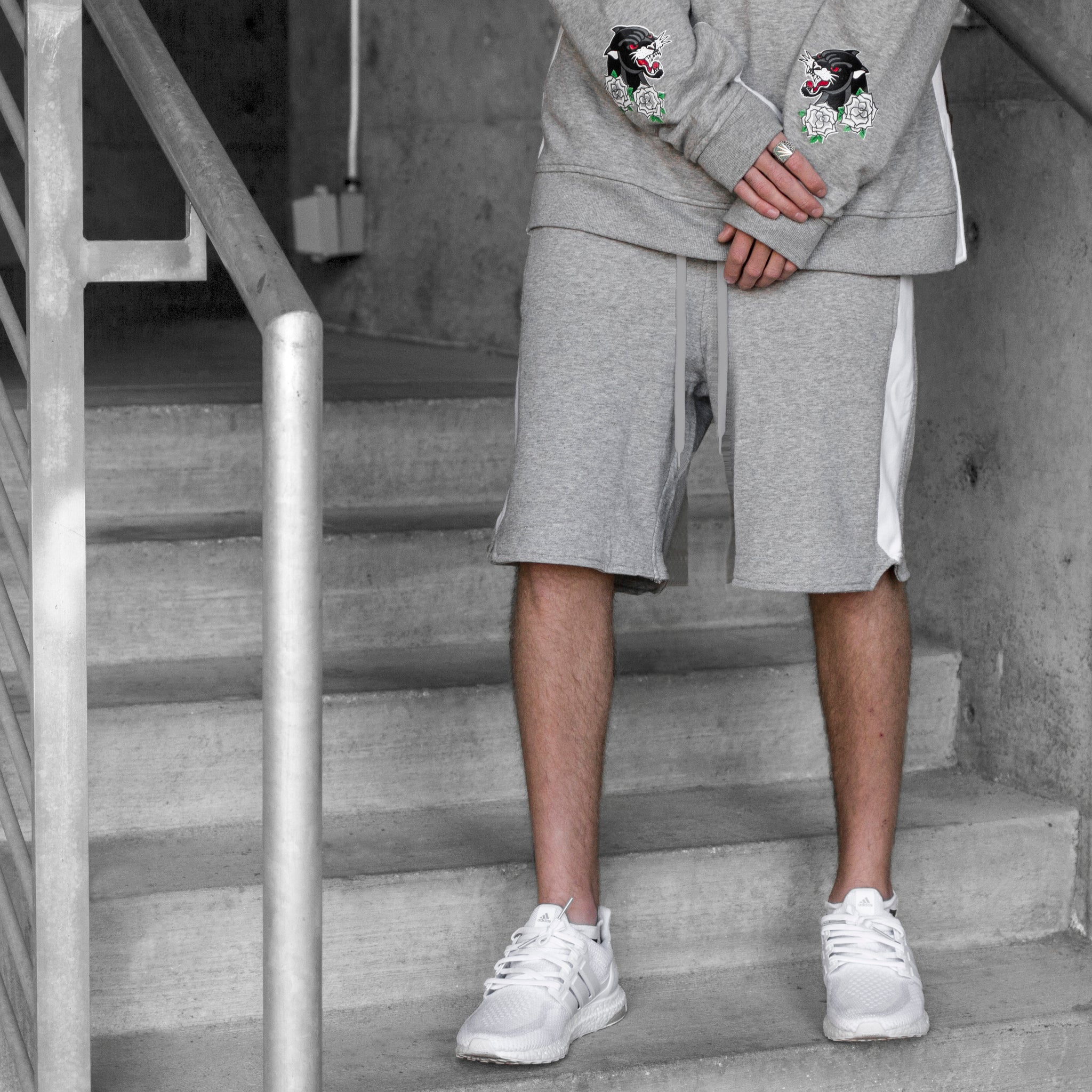 Track Shorts : Heather Grey/White