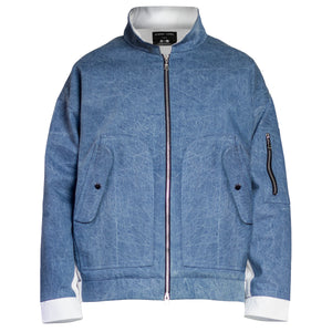 Denim Pilot Jacket : Light Blue/White