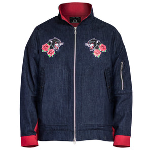 Panther Denim Pilot Jacket : Indigo/Red