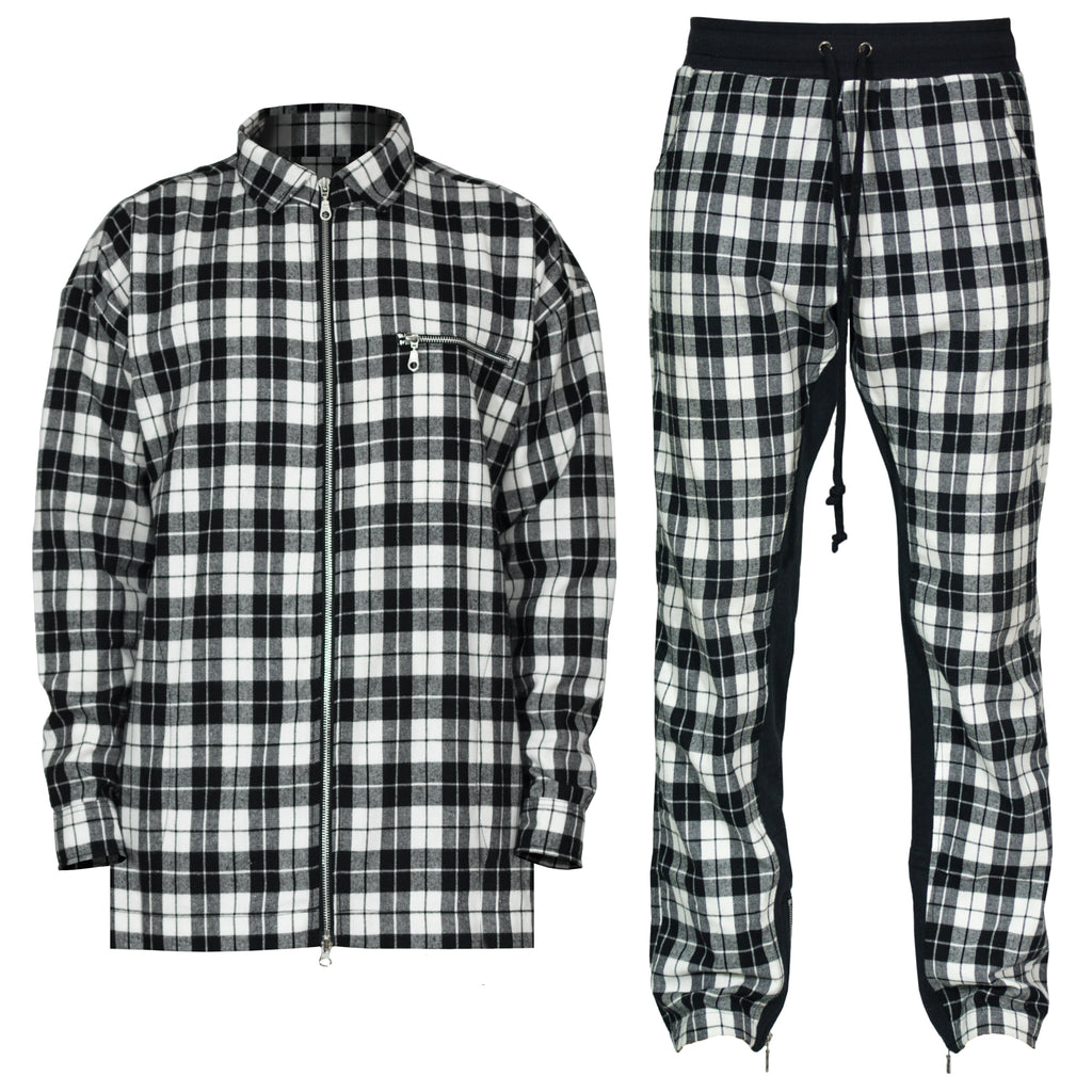 Plaid Outfit : White/Black