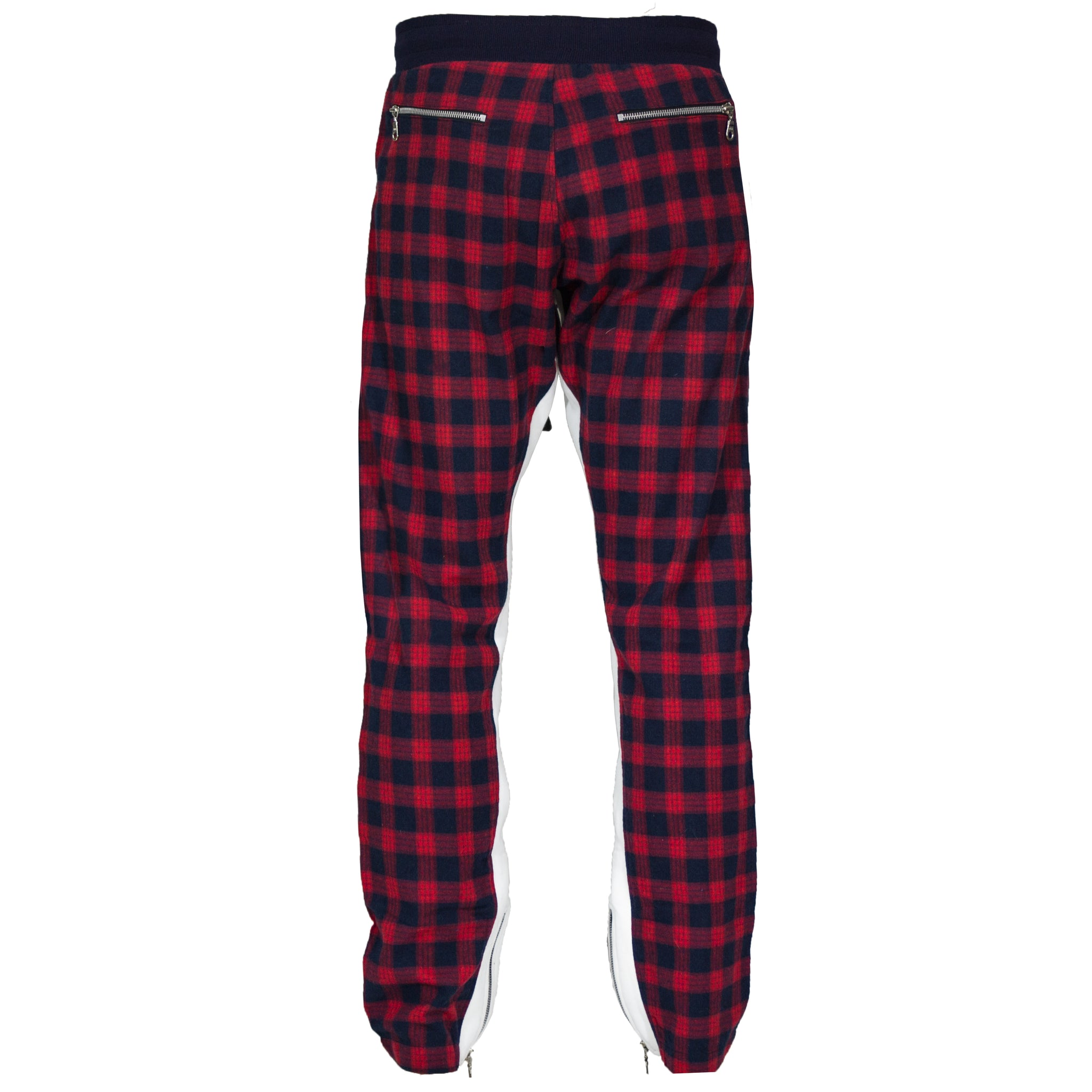Plaid Zip Pants : Red/Navy