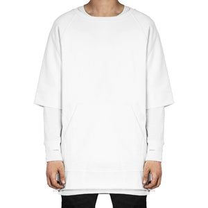 Raglan Fleece Crew Tee : White