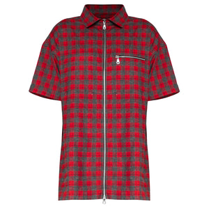 Zipup Shortsleeve : Red/Grey Flannel