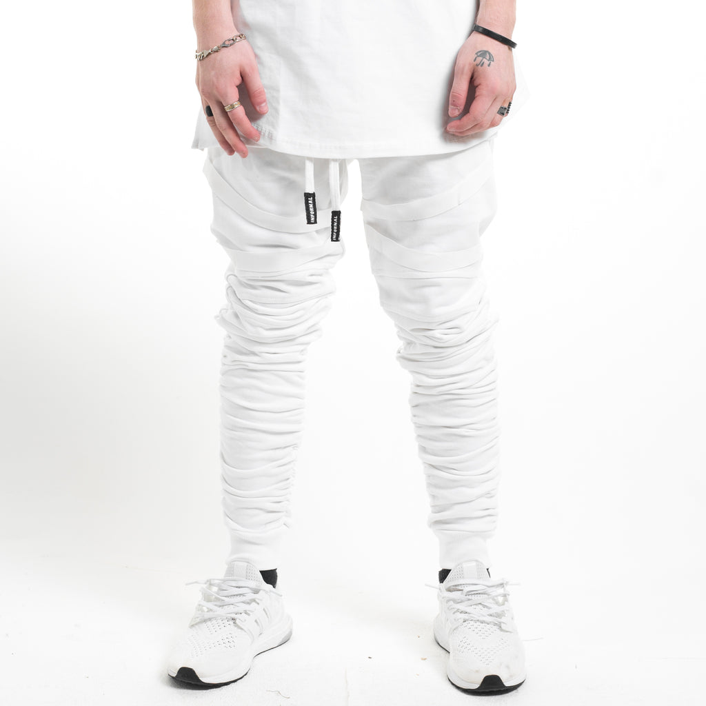 Strapped Gathered Joggers : White