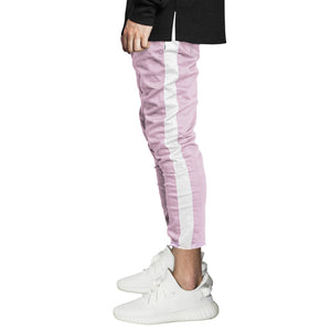 Cropped Track Jeans : Light Ochra/White