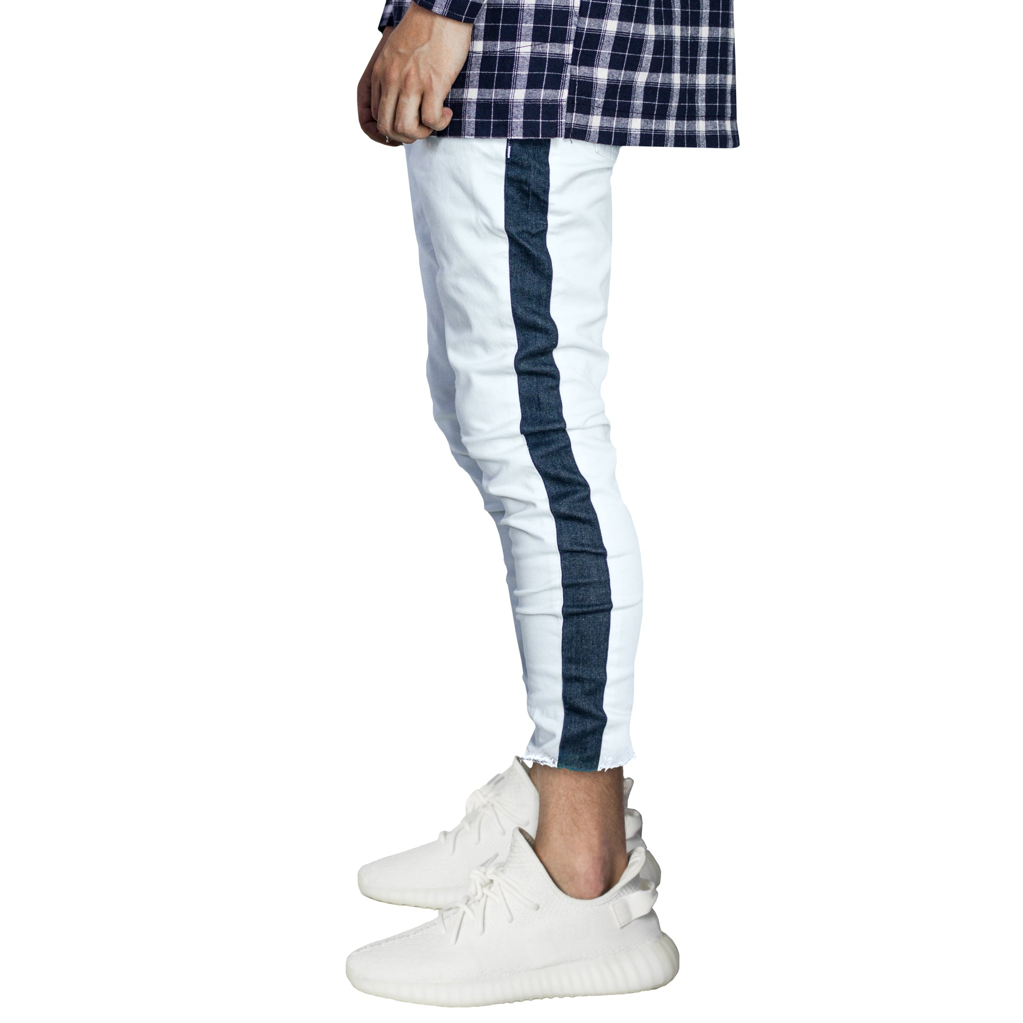 Cropped Track Jeans : Blue Tint/Indigo