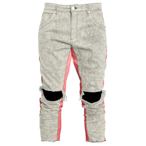 Cropped Track Jeans : Grey Wash/Pink
