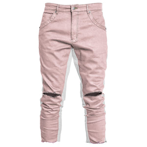 Cropped Track Jeans : Pink/White