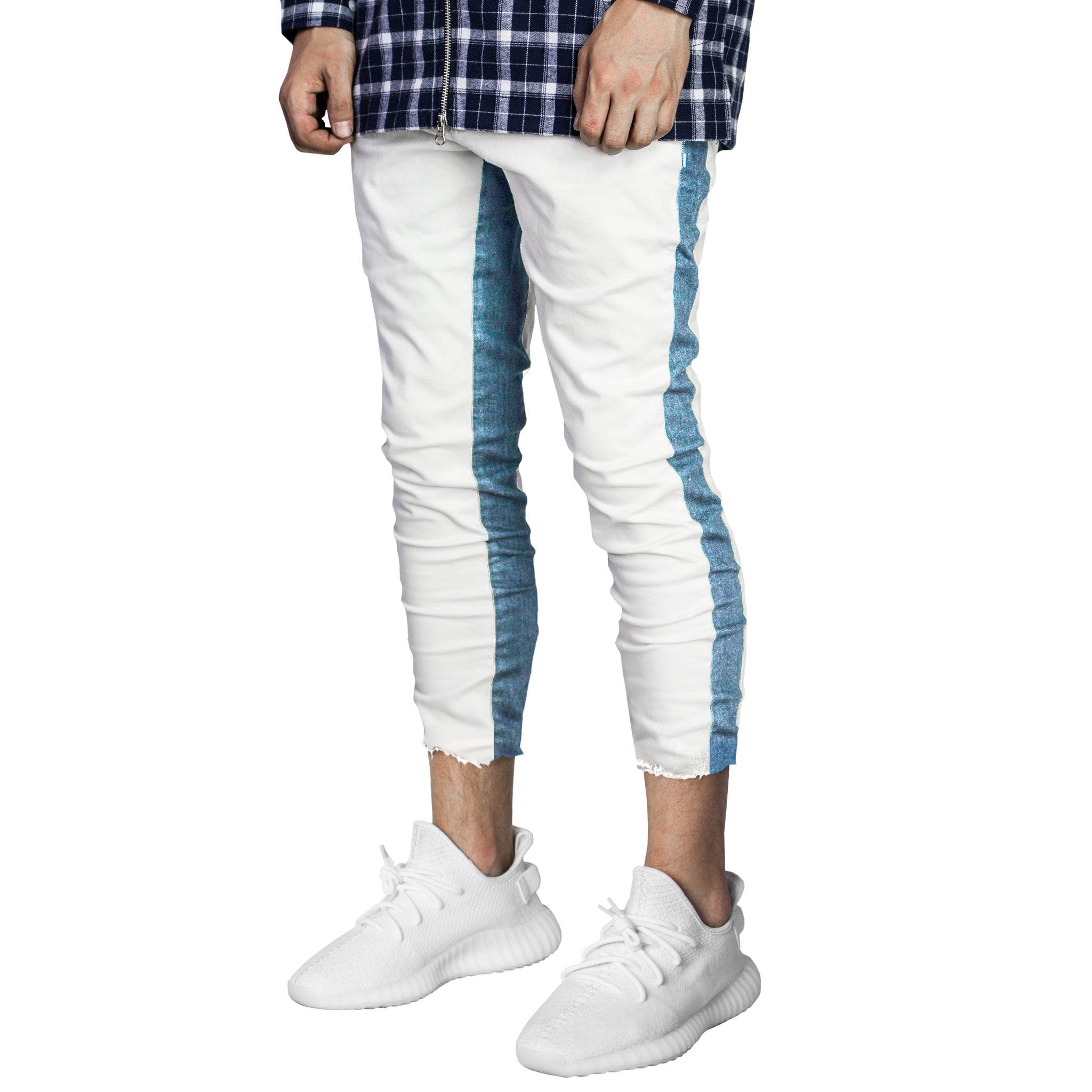 Cropped Track Jeans : White/Blue