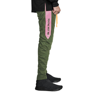 YNM Ankle Zip Trackpants : Olive/Pink