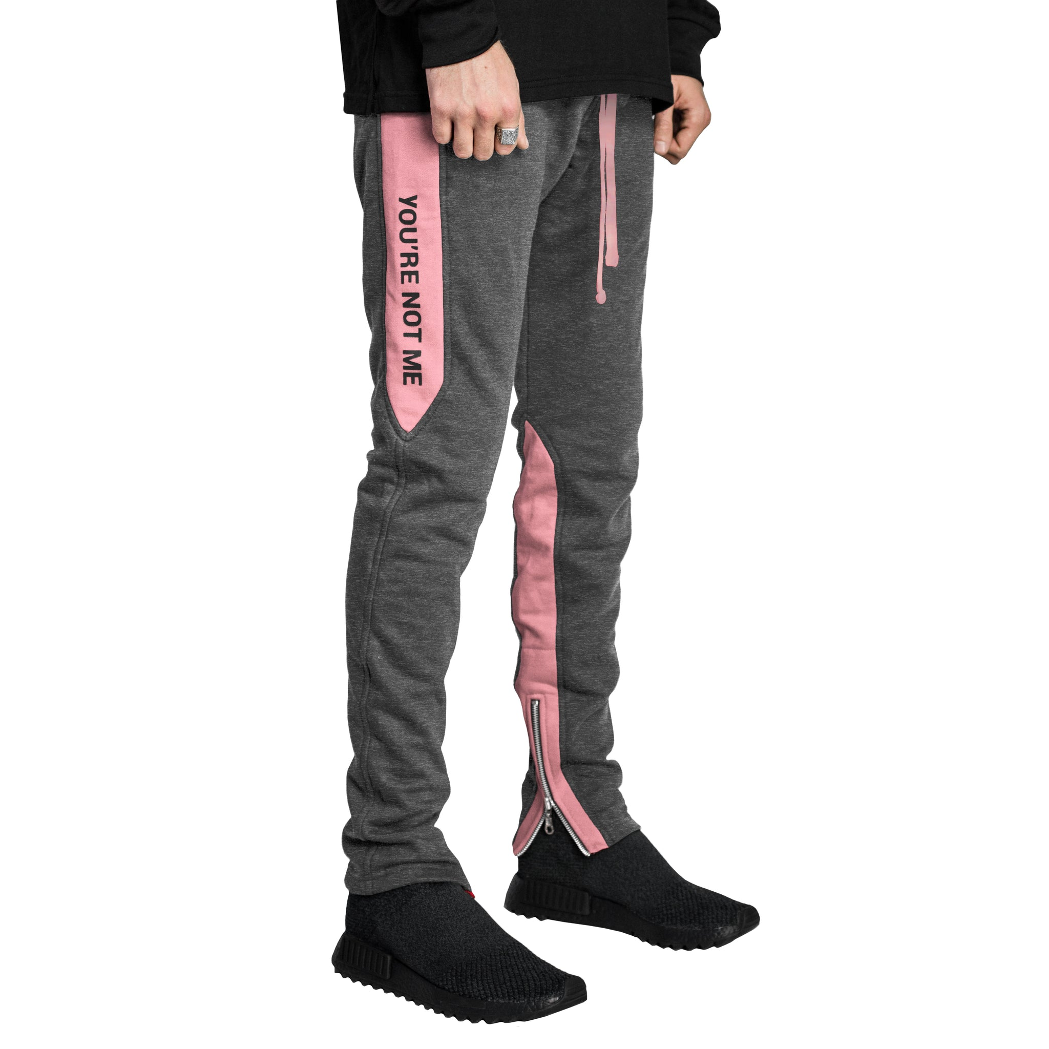 YNM Ankle Zip Trackpants : Charcoal/Pink