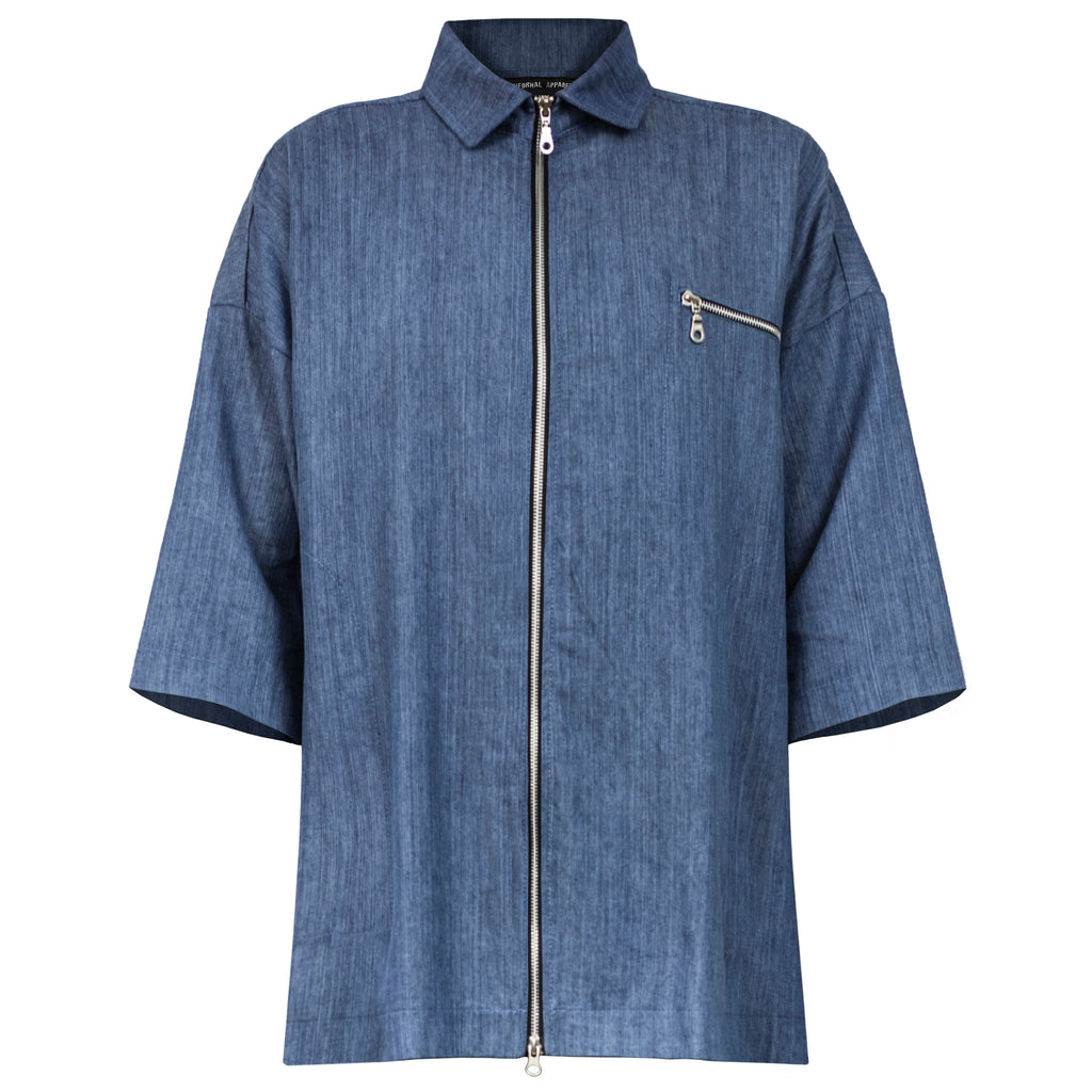 Zipup Collared Shirt : Blue Denim
