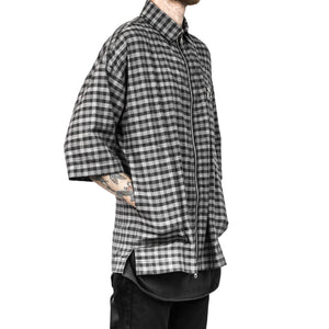 Zipup Collared Shirt : Checkered Houndstooth