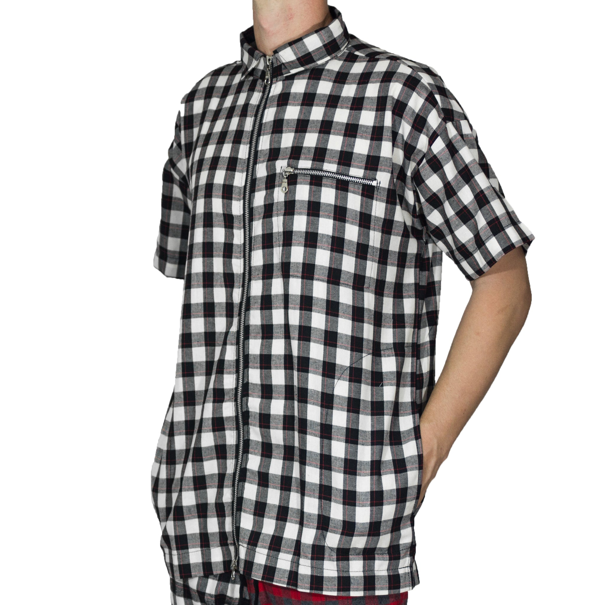Zipup Shortsleeve : White/Black Flannel