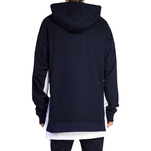 Seam Panel Hoody : Navy/White