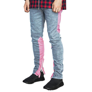 Spear Ankle Zip Jeans : Faded Blue/Pink