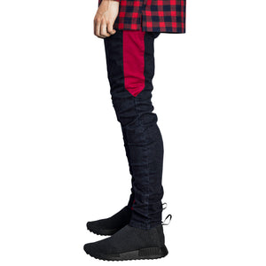 Spear Ankle Zip Jeans : Indigo/Crimson