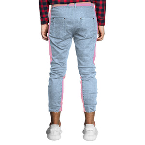Cropped Spear Jeans : Faded Blue/Pink