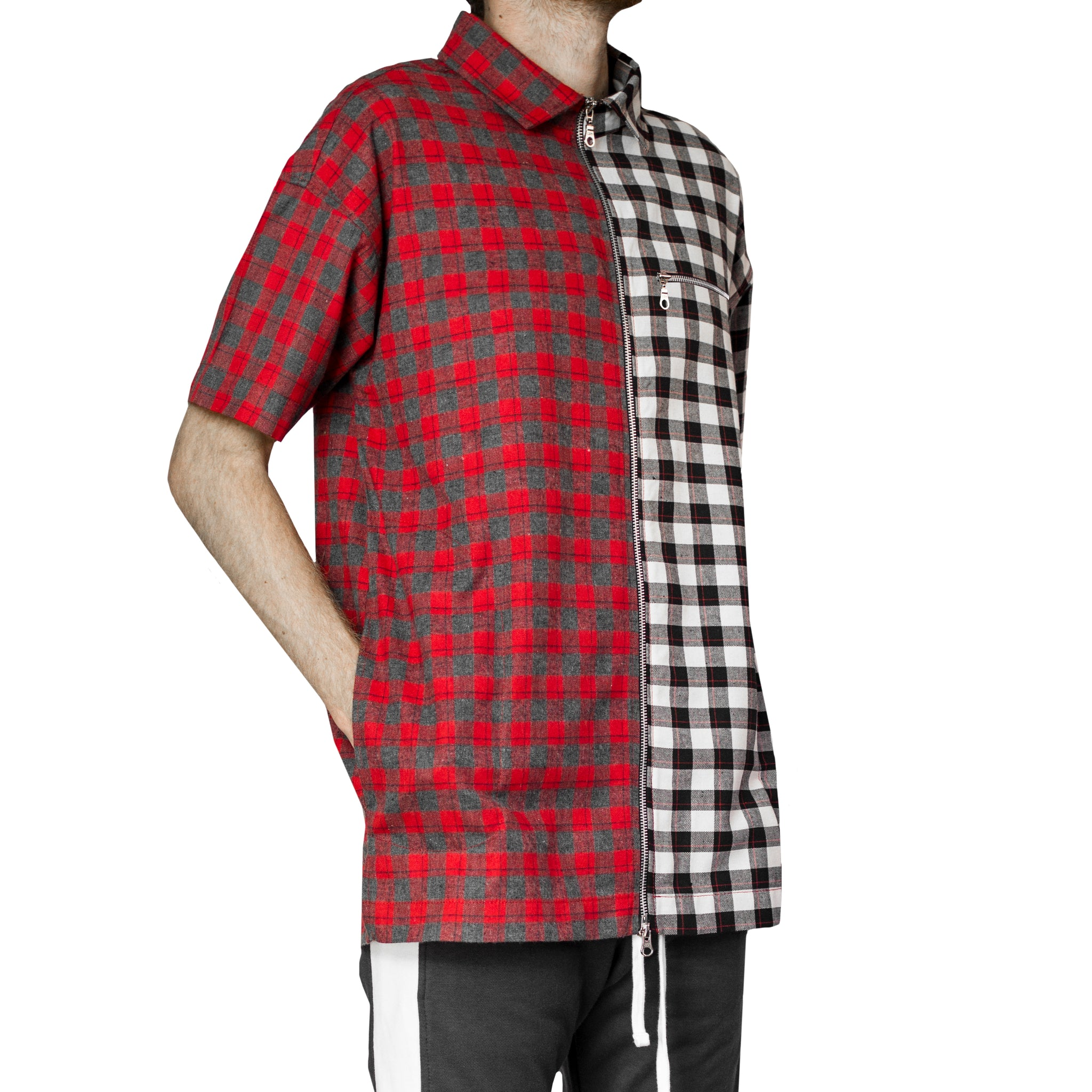 Zipup Shortsleeve : Split Flannel