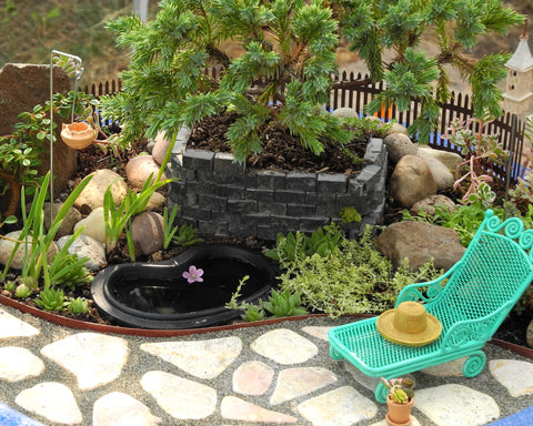 Miniature Garden with Pond and Juniper