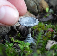 Tiny Metal Birdbath, Staked, Small