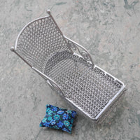 Silver Lounge Chair with Pillow - OOAK